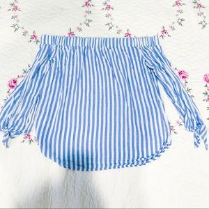 Old navy Blue and white off shoulder top